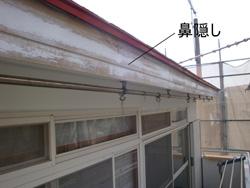 「鼻隠し」とは軒先の先端(鼻先)、垂木の小口に取り付ける板状の部材の事をいいます。 鼻隠には雨樋が取り付けてあるので屋根から落ちてくる雨水が雨樋に入る際に
